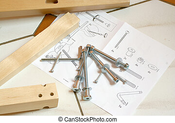 building instructions - pieces of wood, screws and...