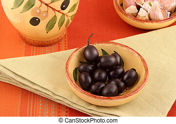 olives and garlic - dishes with black olives and garlic with...