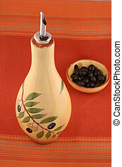 black olives and oil - dishes with black olives with oil...