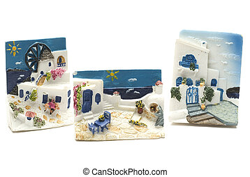 greek island souvenirs street scene magnets