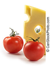 Big piece of fragrant elite cheese and tomatoes