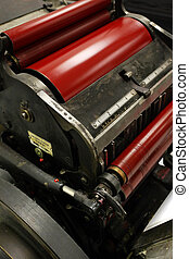 Printing press - Image of an old windmill printing press die...