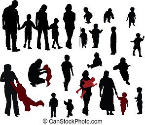 Family silhouettes - Vector silhouettes of Family mother,...