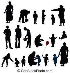 Mother, father and child - Vector silhouettes of mother,...