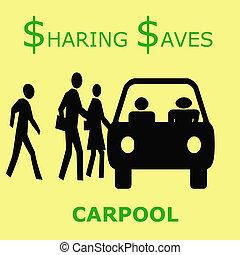 sharing saves - sharing the ride saves money carpool poster