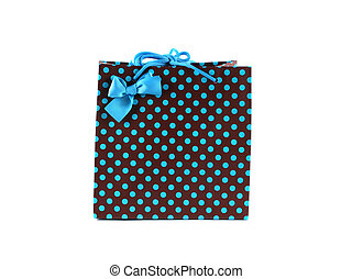 Gift bag - Brown and blue spotted gift bag isolated on white...