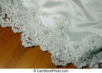 bridal gown hem showing the lace detail