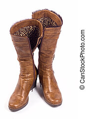 Boots - Pair of woman\\\'s boots isolated on white, focused...
