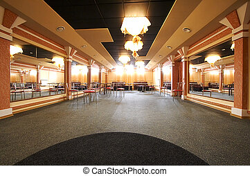 dance hall with mirrors - The big and empty dance hall with...