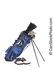 golfing equipment - Isolated golfing equipment with shoes,...