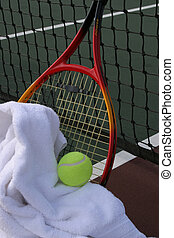 Tennis racquet - Picture of tennis equipment on a tennis...