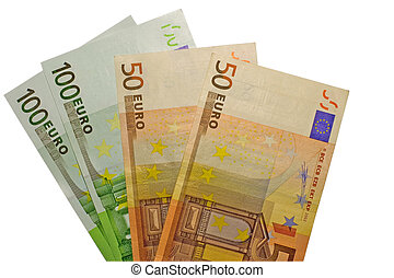 300 euro - The hundred and fifty euro banknotes isolated