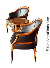 Furniture - two chairs and a coffee table - isolated on...