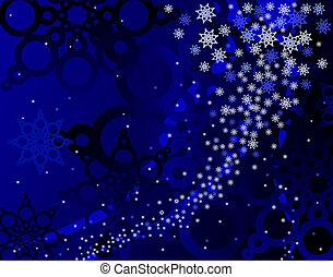 Blue blizzard - Abstract background of snowflakes in blue
