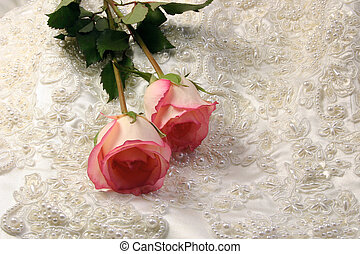 beaded satin and a roses - roses on beaded embroideredsatin...