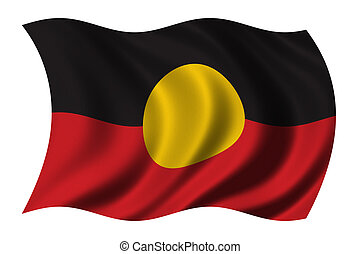 Aboriginal Flag waving in the wind - clipping path included