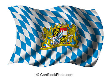 Flag of Bavaria waving in the wind - clipping path included