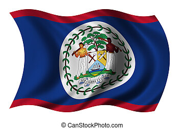Flag of Belize waving in the wind - clipping path included