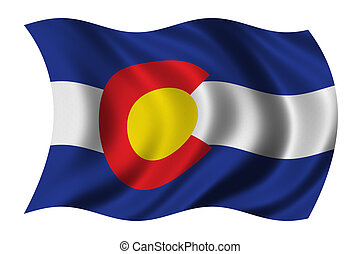 Flag of Colorado waving in the wind - clipping path included