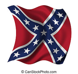 US Confederacy flag waving in the wind - clipping path...