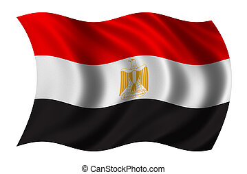 Flag of Egypt waving in the wind - clipping path included