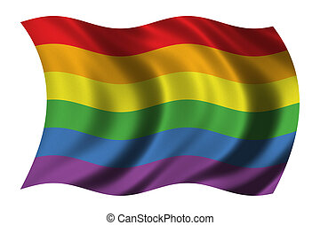 Gay Pride flag waving in the wind  - clipping path included