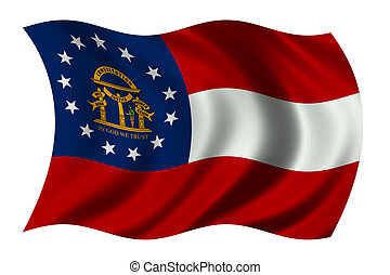 Georgia US State Flag - State of Georgia Flag waving in the...