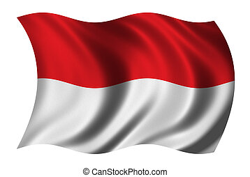 Flag of Indonesia waving in the wind - clipping path...