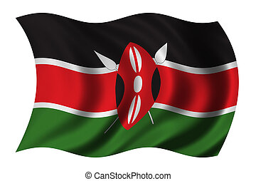 Flag of Kenya waving in the wind - clipping path included