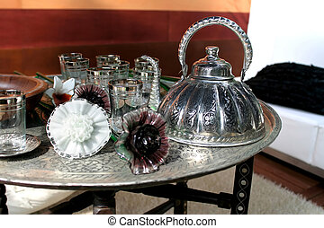 luxury silver tray with elegant silver tea pot
