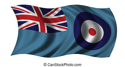 Flag of the Royal Air Force waving in the wind - clipping...