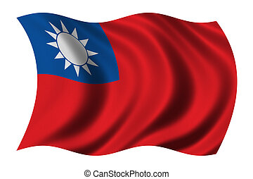 Flag of Taiwan waving in the wind - clipping path included