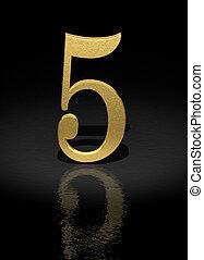 Number 5 - 5 Gold Number on black background - 3d image