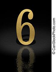 Number 6 - 6 Gold Number on black background - 3d image