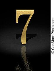 Number 7 - 7 Gold Number on black background - 3d image