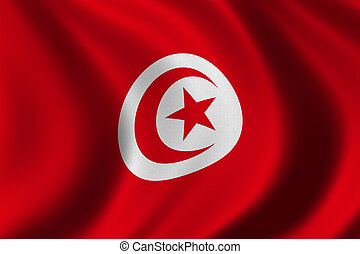 Flag of Tunisia waving in the wind - clipping path included