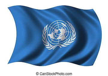 United Nations - Flag of the United Nations waving in the...