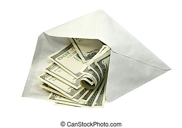 Dollars in envelope - Dollars in an envelope-concept of a...