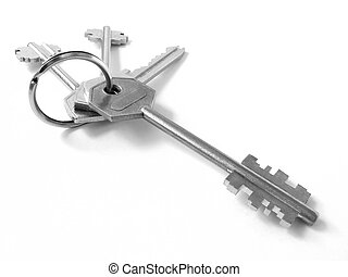 bunch of keys 3 - bunch of keys from door locks on the white...
