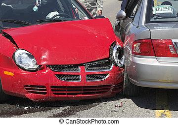 dos, coche, choque, 1
