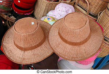 Tree Bark Hats - Hand-made hats made of tree barks by the...