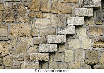 Rocks steps - Rocks stairs on a wall- detail f an ancient...