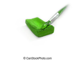 isolated green paint with brush
