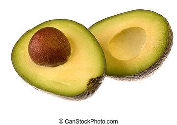 avocado fruit cut on half isolated on white background