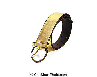 beautiful golden belt over white background
