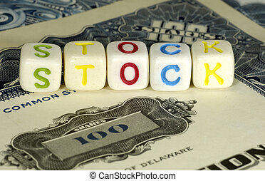Stock - Photo of Stock Certificates and The Word Stock -...