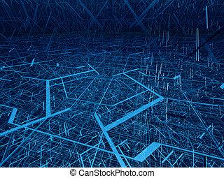 Diagonal fibre tangle - Deep blue wire 3d structure