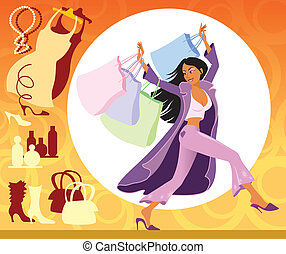 Shopping - Illustration of girl with shopping bags on the...