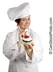 No Sweets For You - A chef holding a strawberry cheesecake...