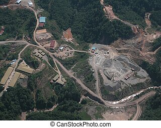 Limestone quarry - An aerial view of a large quarry in the...